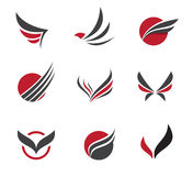 Black Vector set of wing symbols Royalty Free Stock Photos