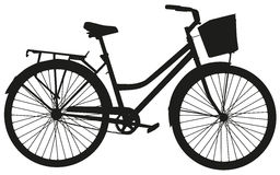 Black vector silhouette of a bicycle with a basket Stock Photo