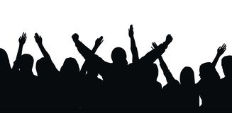 Black vector silhouette of cheering crowd isolated on white background - festival, sport, party royalty free illustration