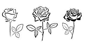 Black vector silhouettes of roses Royalty Free Stock Photo