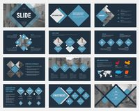 Black vector slides with blue rhombuses for annual business reports. Templates for flyers and banners, advertising. Set royalty free illustration