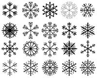 Black vector snowflakes Royalty Free Stock Images