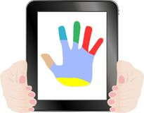 Black vector tablet pc with hand on the screen Stock Photos
