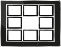 Black vector tablet pc set with white screen Royalty Free Stock Photo