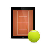 Black vector tablet with tennis ball and field on Royalty Free Stock Photography