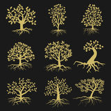 Black vector tree silhouettes with leaves and roots royalty free illustration