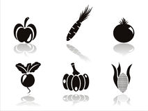 Black vegetables icons Royalty Free Stock Images
