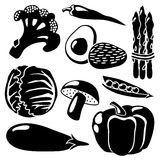 Black  vegetables silhouettes icons on white backg Royalty Free Stock Photo