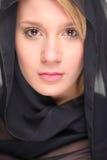 Black veiled female royalty free stock image