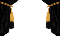 Black velvet curtain Stock Photo