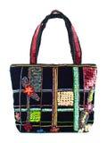 Black velvet handbag Royalty Free Stock Images