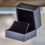 Black velvet jewelry box Stock Image