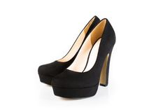 Black velvet shoes isolated Stock Photography