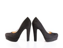 Black velvet shoes isolated Royalty Free Stock Image