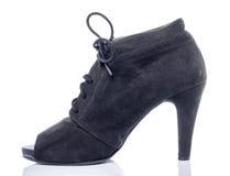 Black Velvet Woman shoes Stock Image