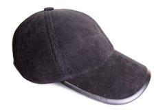 Black velveteen sports cap. On a white background Royalty Free Stock Image