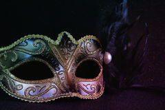 black venetian mask on glitter background Royalty Free Stock Image