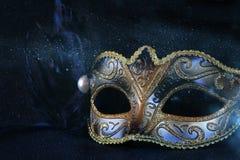 black venetian mask on glitter background Royalty Free Stock Photos