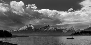 Black and while version of the Grand Tetons. An early morning storm approaches over Lake Jackson, Wyoming Royalty Free Stock Image