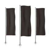 Black vertical banner flag templates. Royalty Free Stock Images