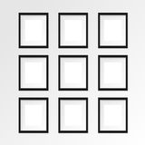 Black vertical photo frame on gray wall with realistic shadows. Set of 9 nine Black vertical photo frame on gray wall with realistic shadows. Vector Stock Photos