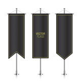 Black vertical vector banner flags isolated. Royalty Free Stock Photo