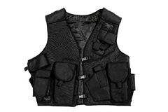Black vest. A black security vest isolate on white background stock photo