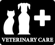 Black veterinary care icon with pets and cross Stock Images