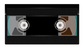 Black Video Cassette On White. A typical old fashioned video cassette over a white background Royalty Free Stock Photos