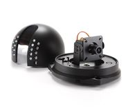 Black video surveillance camera. Black isolated video surveillance camera Stock Photo