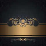 Black vintage background with gold border. Royalty Free Stock Photography