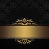 Black vintage background with gold border. Royalty Free Stock Images