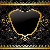 Black vintage vector background with gold decorations - pattern Stock Images