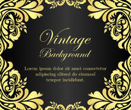Black vintage background with golden floral frame Stock Image