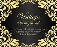 Black vintage background with golden floral frame Stock Image