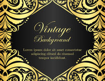 Black vintage background with golden floral frame Royalty Free Stock Photos