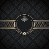Black vintage background with patterns and frame. Stock Image