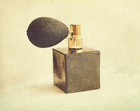 Black vintage bottle of perfume Royalty Free Stock Images