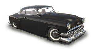 Black Vintage car 3D model. Vintage black car - Shiny old 3D model vector illustration