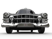 Black vintage car - front view extreme closeup shot Royalty Free Stock Photography