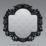 Black vintage carved classic frame with white ornamental backgro Stock Photos