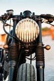 Black vintage custom motorcycle cafe racer Royalty Free Stock Photography