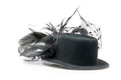 Black vintage hat. Isolated on white royalty free stock image