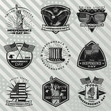 Black Vintage Independence Day Labels Set. With inscriptions traditional and festive american elements on striped background isolated vector illustration Stock Images