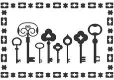 Black vintage keys, graphics. Old black vintage keys, graphics illustration Stock Photography