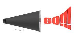 Black Vintage Megaphone with Go Sign Stock Image