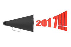 Black Vintage Megaphone with 2017 year Sign. 3d Rendering. Black Vintage Megaphone with 2017 year Sign on a white background. 3d Rendering Royalty Free Stock Photography