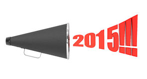 Black Vintage Megaphone with 2015 year Sign. On a white background stock illustration