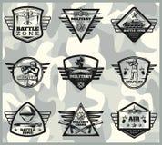 Black Vintage Military Labels Set Stock Photos
