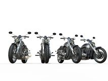 Black vintage motorcycles in a row Stock Photography
